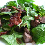 Baby spinach & chicken liver salad