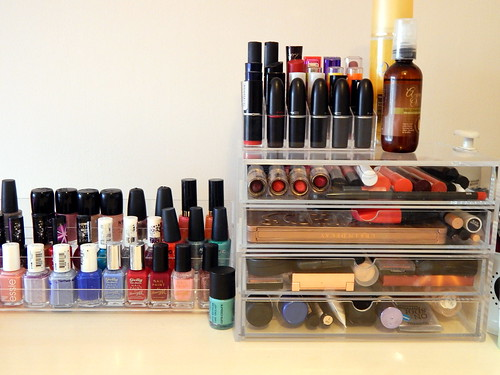 makeup storage - muji drawers and acrylic lipstick and nail polish holder