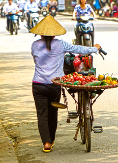 A lady walking in Hanoi, Vietnam
