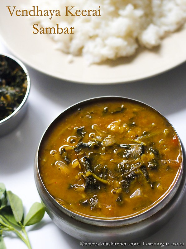 Learning-to-cookHow to make Vendaya keerai sambar Methi Leaves