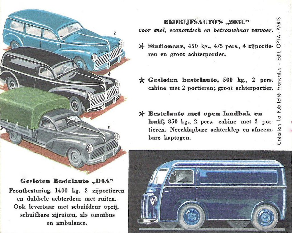 PEUGEOT Car Dealer Brochure Model 203 + 403 (Holland 1956)_2