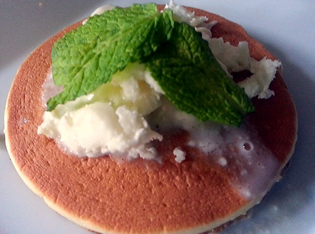 Mascarpone, feta cheese and mint leaves pancake