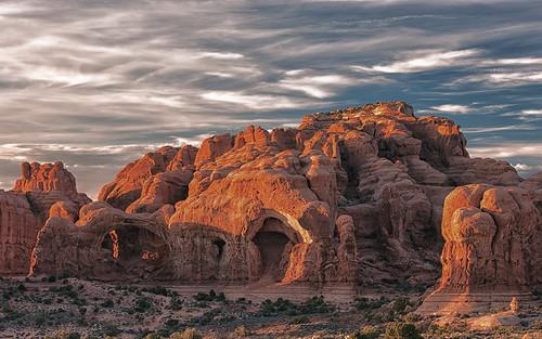 sunset utah unitedstates arches moab topaz restyle