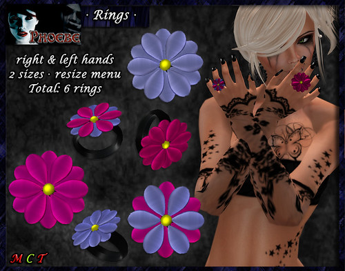 [10L OFFER!] *P* Flower Rings ~Pink-Lilac~