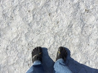 FiveFingers on salt flats
