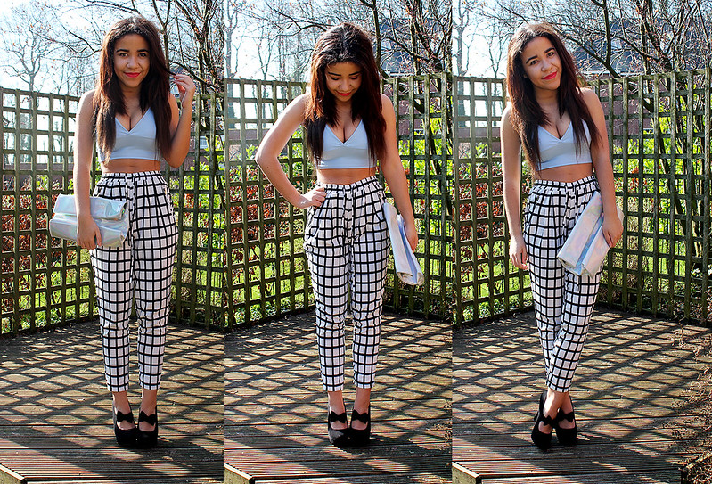 eea2ba4a108ef Crepe Bralet in Blue - Missguided Monochrome Square Print Trousers -  Missguided( ) Holographic Clutch Bag - New Look Shoes - Ebay