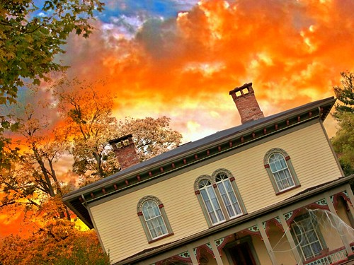 street new york sunset sky ny st architecture clouds town village state south small style historic historical marcellus italianate onasill ononadgacounty