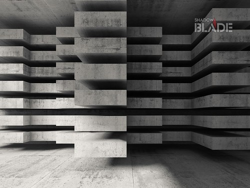 Modern concrete 3d architecture background