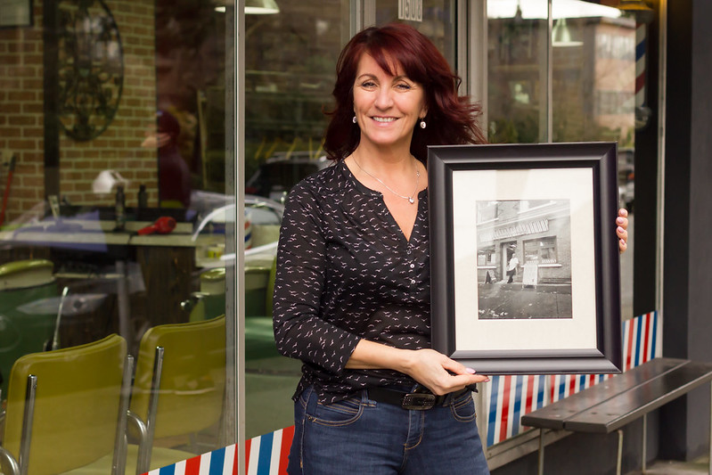 Rosanna of Frank's Barbershop in the South Granville neighbourhood. Helena McMurdo Photography