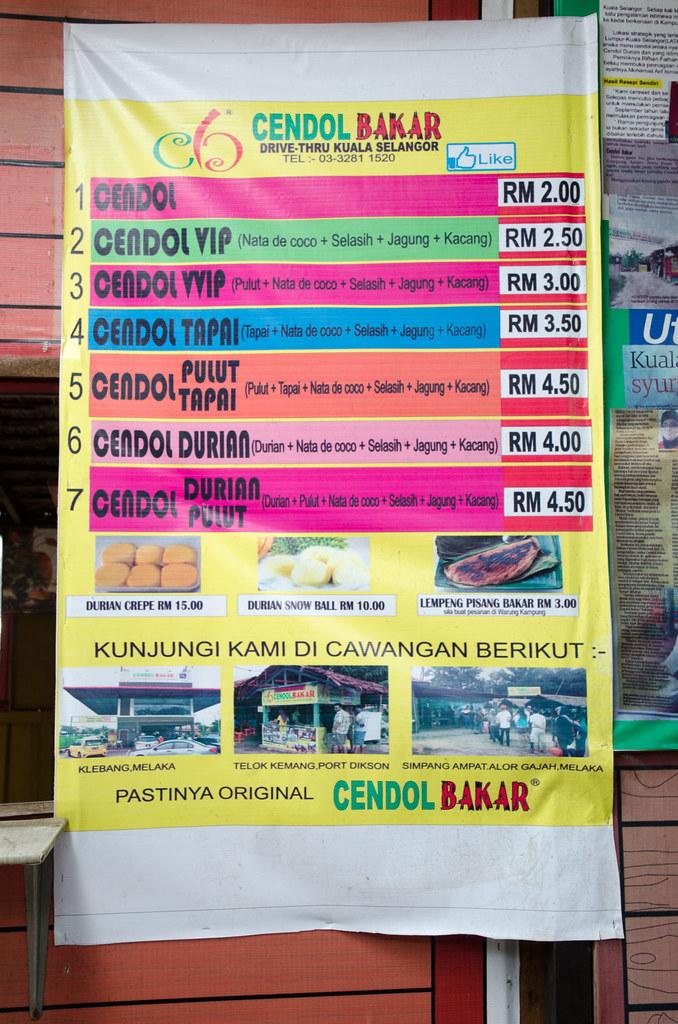 Food menu at Cendol Bakar, Kuala Selangor.