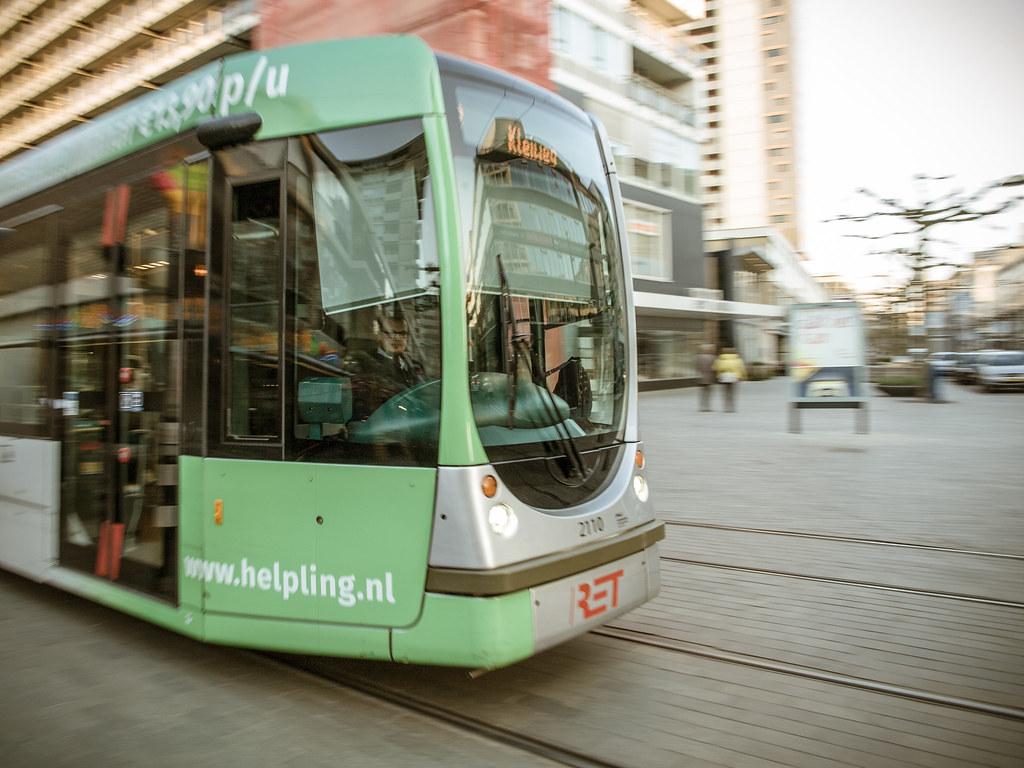 Tram in Rotterdam.