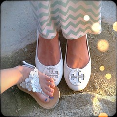 """You takin a picture of our feet??"" ""Yes, you have such cute sandals!"" ""Oh okay. You too."" #wiw #toryburch #chevron #mint #maxi"
