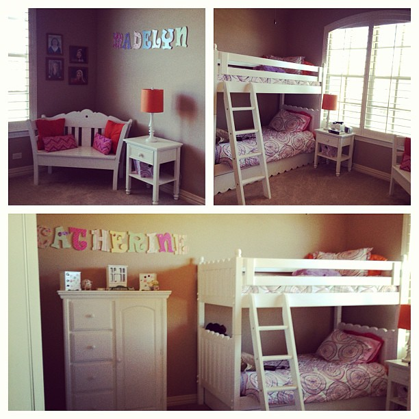 Today's project. Putting the girls twin beds into bunk beds. Adding a reading nook to the room.