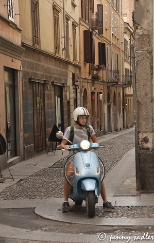 Street in Italy (and a cool blue scooter)