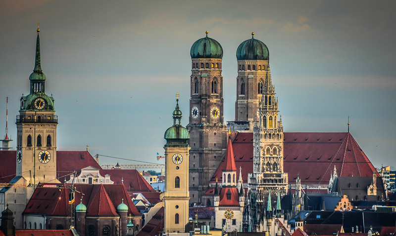 Munich Altstadt with the towers of Frauenkirche, Peterskirche; and Altes and Neues Rathaus - Germany