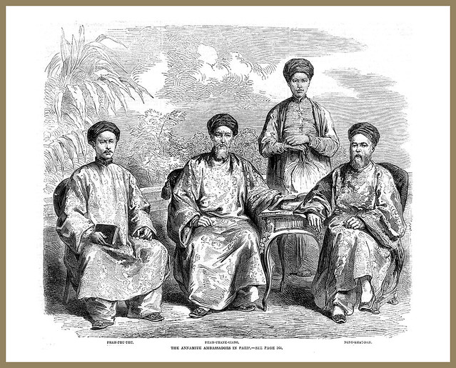 The Annamite Ambassadors in Paris - Antique Print 1863. Các Sứ thần Annam tại Paris