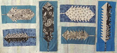6 abstract feather quilt blocks