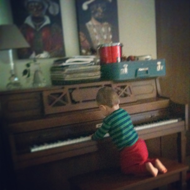 Morning serenade. He got up there all by himself.