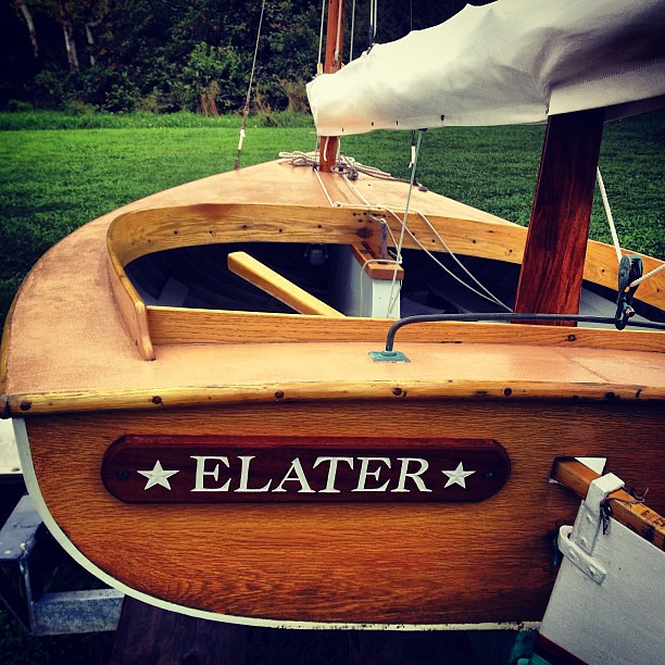 ELATER out of the water for the season. #woodenboat #beetlecat #catboat #sailing