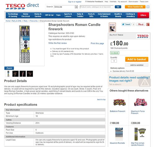 Tesco Vs Epic Fireworks - Sharpshooters Roman Candles by Standard Fireworks