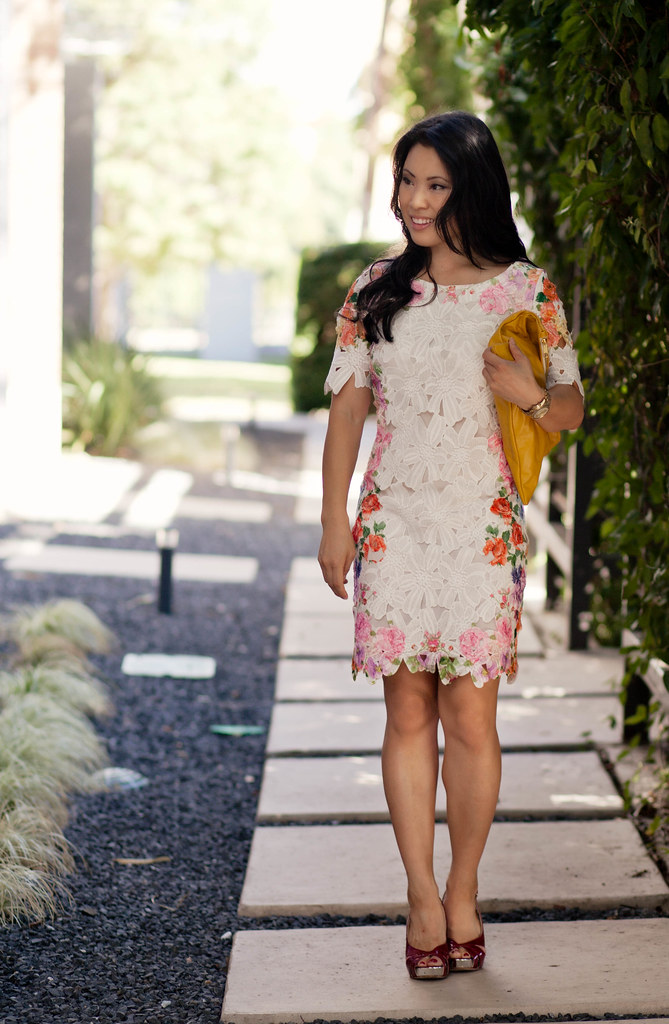 choies floral dress with cut out, american apparel yellow clutch, red stiletto heels outfit #ootd