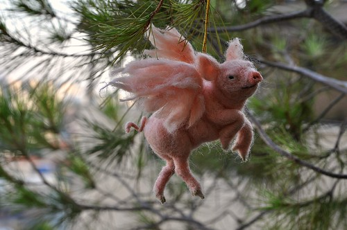Needle felted PIGASUS. Christmas tree Ornament.