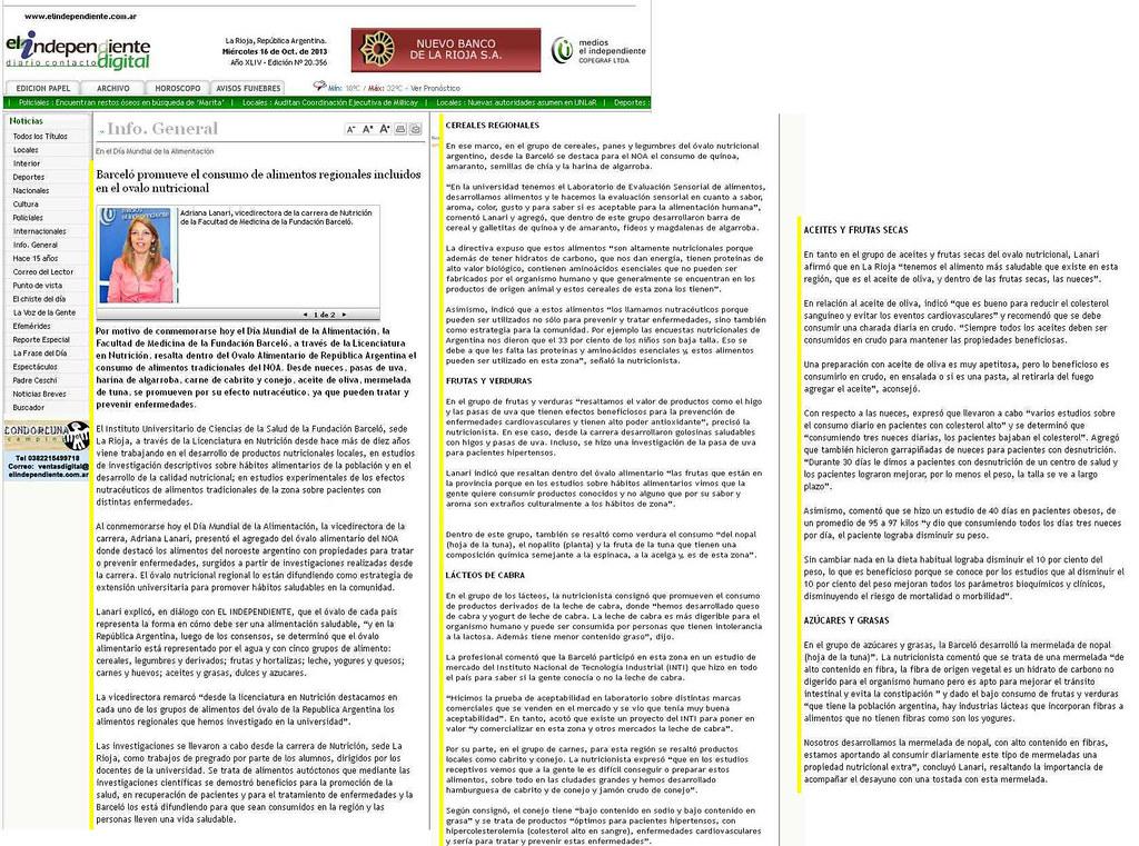 Site El Independiente Digital (La Rioja) Alimentos Autóctonos NOA - 16-10-13