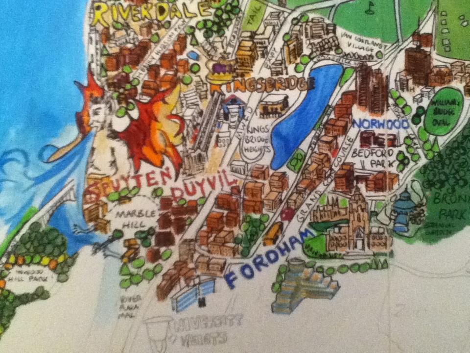 Map Of New York Ny Neighborhoods.New York City Artwork Map White Plains Cortland Neighborhoods