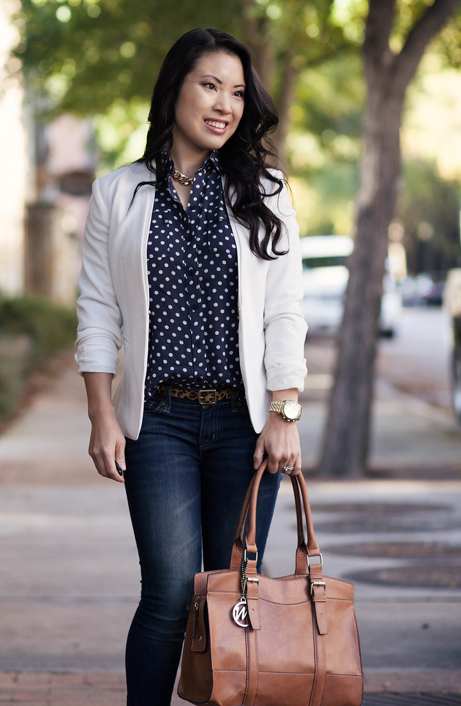 cute & little blog | white blazer, navy polka dots, gold chain necklace, outfit #ootd, petite fashion