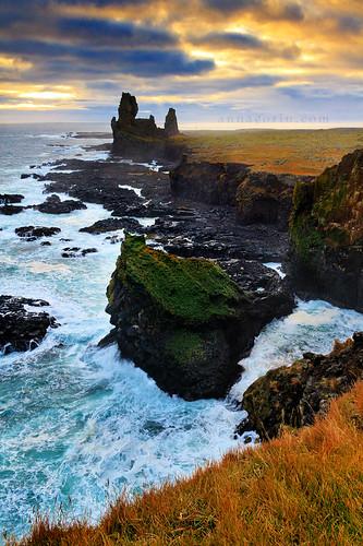 ocean travel sunset sky water clouds canon coast iceland scenery sigma cliffs 7d snaefellsnes hellnar snaefellsnespeninsula 1750mm londrangar