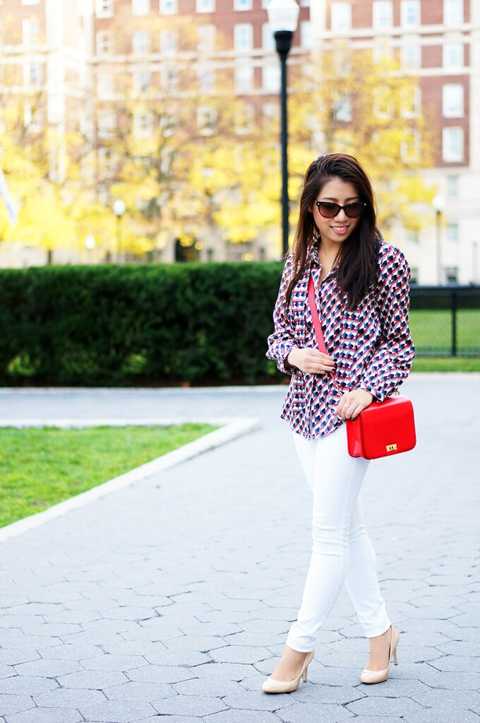 Petite Hues, Marc by Marc Jacobs, Silk Top, J. Crew Edie Bag, Red Bag, White Jeans in the Fall