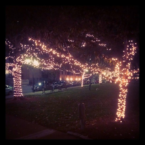 Some of the lights are on at Lytle Park this evening...