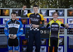 Junior Men podium: Hamish Cooper (Ythan CC) Jamie Mason (West Lothian Clarion) and Alistair Merry (Discovery Junior CC)...
