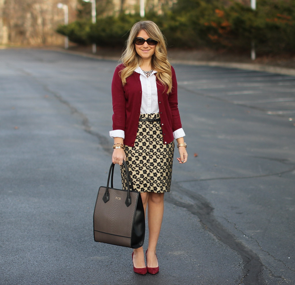 maroon leopard: maroon cardi leopard pencil skirt work outfit