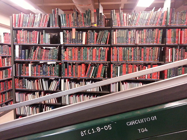 Books in basement with conveyor systen