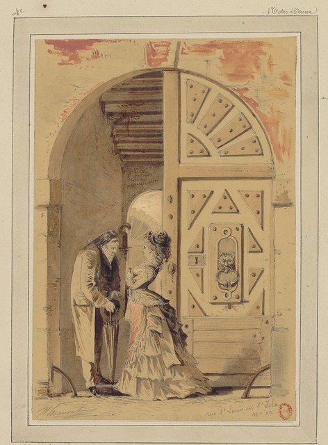watercolour & pen sketch of man & woman adjacent to large, ornate, double-door entranceway - 19th century Paris urban scene