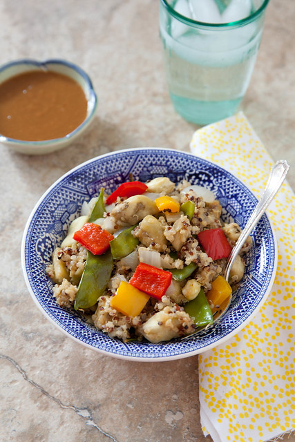 Let's Do Lunch: Roasted Veggie Quinoa Bowls with Peanut Sauce