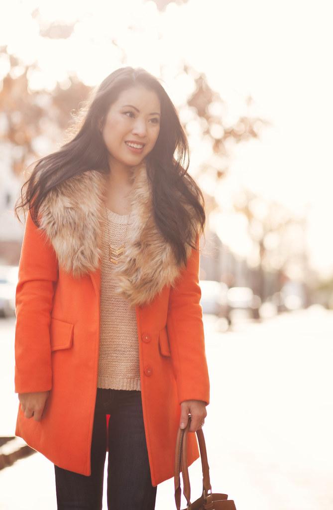 cute & little blog | leopard print pumps, rag & bone skinny jeans kensington, sheinside orange coat, fur collar stole, chevron necklace, beige knit sweater | winter outfit