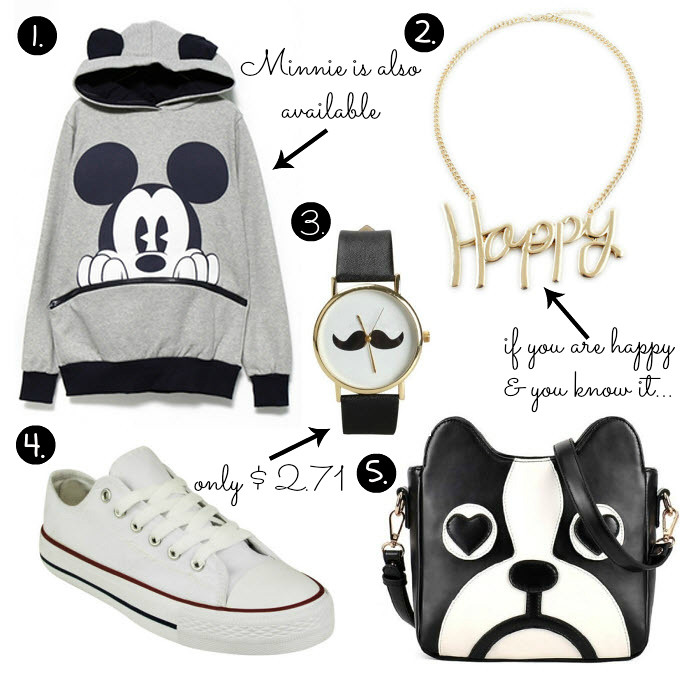 Cheap Friday- Ebay bargains #19. Maddie's guide on Ebay clothing, shoes and accessories. This weeks Ebay bargains include items like a mickey mouse sweater hoodie, with mickey mouse ears on the hood, moustache watch for less than 3 dollars, happy necklace (identical to romwe's necklace, but way more cheaper), converse all stars alternative cheaper white sneakers, cute dog face bag