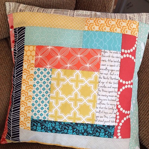 IG says I made this block 40 weeks ago. Finally found its home as a completely unnecessary pillow in Jill's room.
