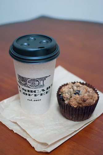 Pushcart Coffee and vegan muffin