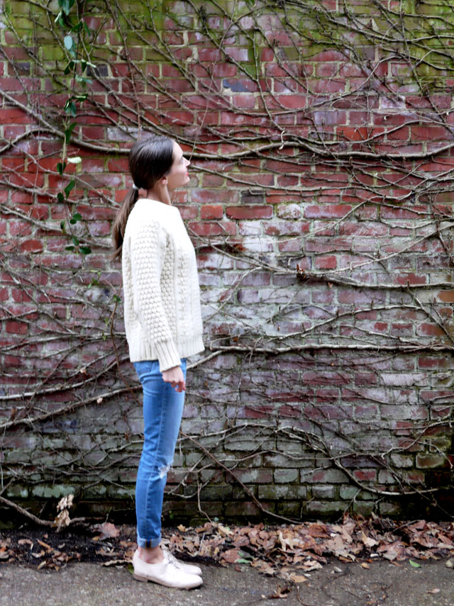 3 jbrand skinny jeans brogues and fisherman sweater ethical style blog
