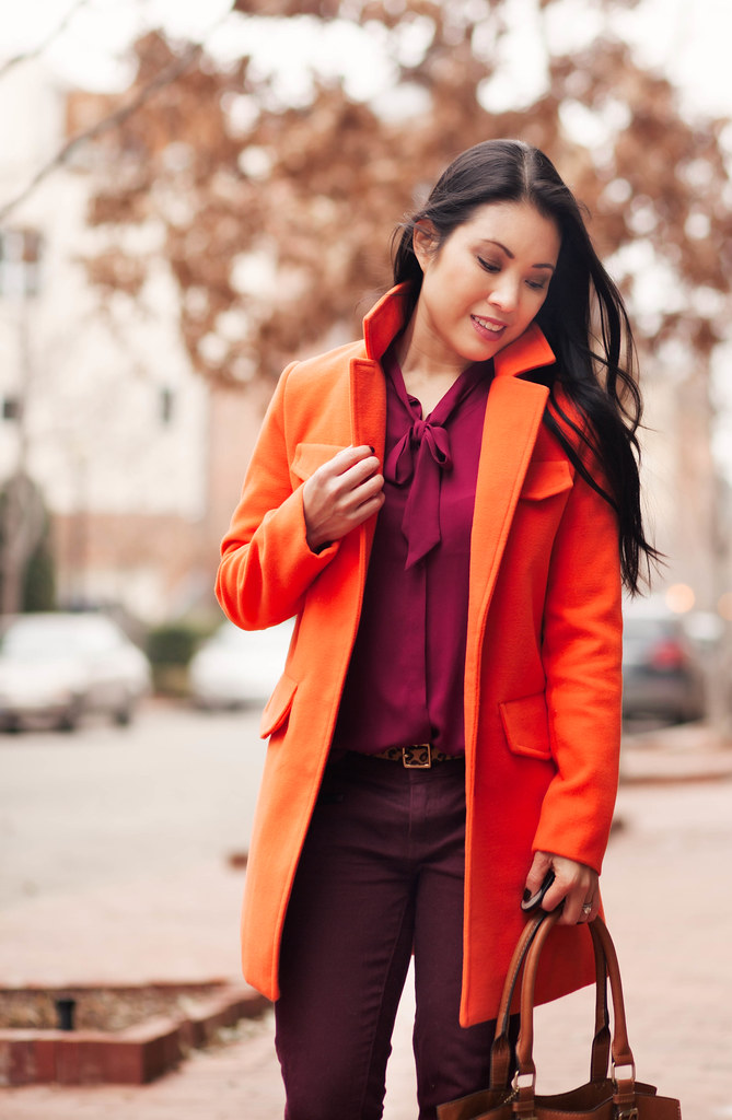 cute & little blog | bright winter outfit | orange coat, maroon top, burgundy pants