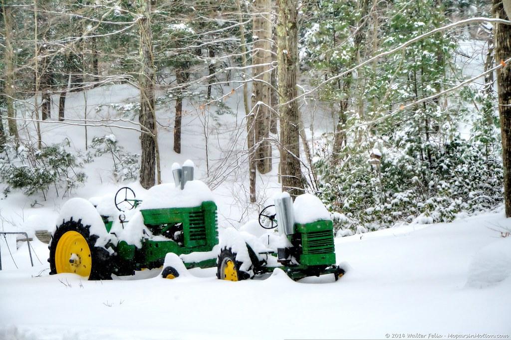 2 Deere in the Snow