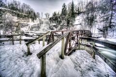 Wooden bridge and Chittenango Falls