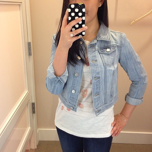 @loftgirl jean jacket in XSP and cute soft tshirt in regular XS.