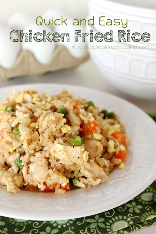 Quick and Easy Chicken Fried Rice on a white plate.