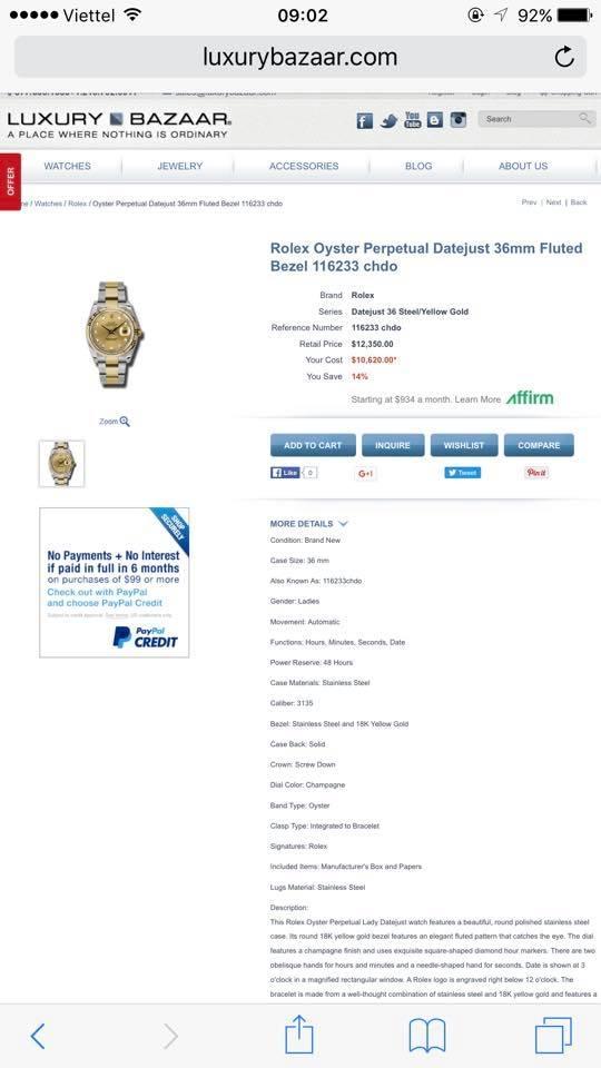 Đồng hồ rolex datejust 116233 – Đè mi vàng 18k – mặt xoàn – size 36mm