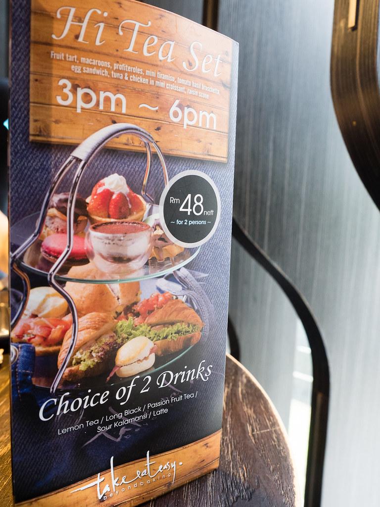 High tea set menu at Take Eat Easy Modern Bakery & Cafe