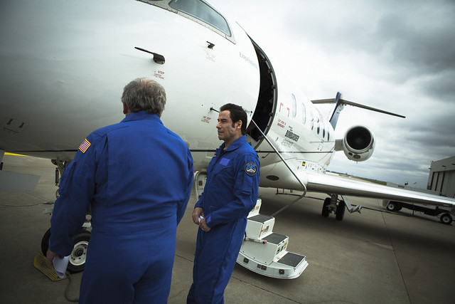 John Travolta experiencing the Challenger 350